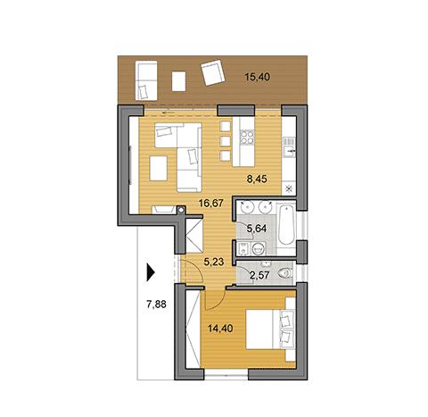 Projekty dom p dorysy djs architecture for Kitchen design 5m x 6m